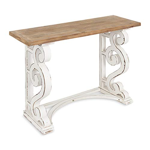 Kate and Laurel Wyldwood Country French Solid Wood Console Table - Rustic/White Legs - Natural Wood Top
