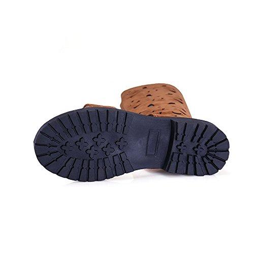 AllhqFashion Mujeres Esmerilado Cremallera Puntera Abierta Mini Tacón Sólido Sandalia Marrón
