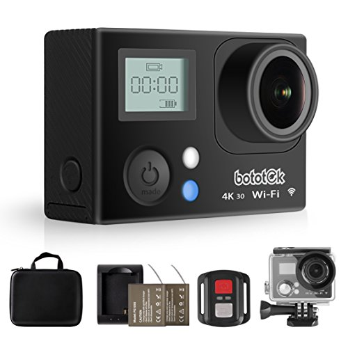 Bototek 4K Action Camera 16MP Waterproof Sports Cam with 2 inch LCD Screen, Built-in Wi-Fi, 170 Degree Wide Angle, 2 Rechargeable Batteries and Mounting Accessories Kits by bototek
