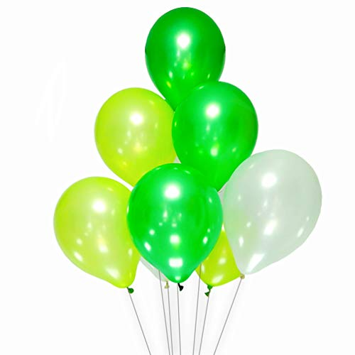 AZOWA White and Green Latex Balloons 12 inch Party Decorations Balloons Pack of 100 for Wedding Baby Shower Birthday Party Festival Celebrate ()