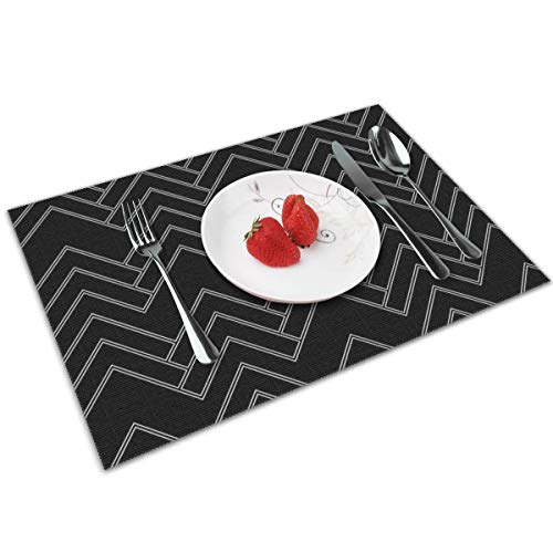 Luase Art Deco Chevron Black and White Table Placemats for Dining Table,Washable Placemat Heat-Resistant Set of 6(12X18 inch)