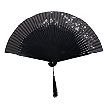 Chinese Japanese Sakura Floral Folding Hand Pocket Fan Black