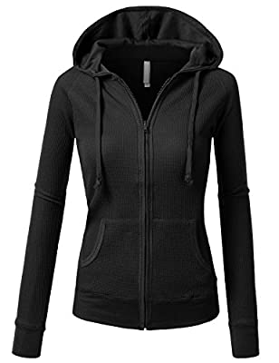 J.TOMSON Womens Casual Thin Thermal Zip-Up Hoodie