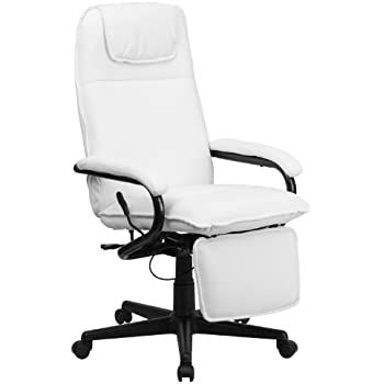 Amazoncom Flash Furniture High Back White Leather Executive - White leather office chairs