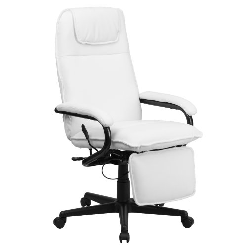 Flash Furniture High Back White Leather Executive Reclining Swivel Chair with Arms
