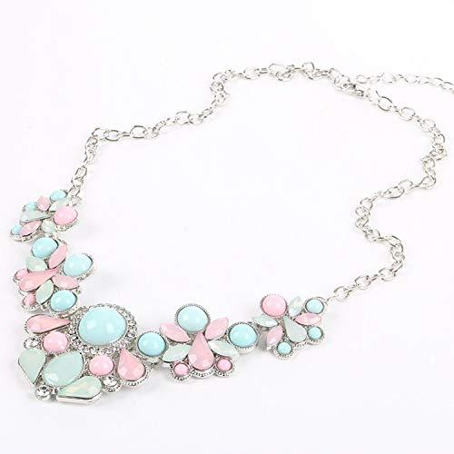 (OASIS LAND Fashion Jewelry Small Fresh Alloy Acrylic Gemstone Mosaic Geometry Short Clavicle Chain Necklace Female Jewelry)