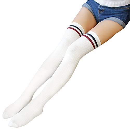Zando Women Stripe Tube Dresses Over the Knee Thigh High Stockings Cosplay Socks White -
