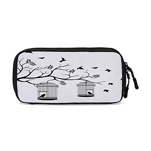 Apartment Decor Useful Small Data Storage Bag,Modern Romantic Themed Decor Birds Cages Branches Leaves Art Print for Office,9.4