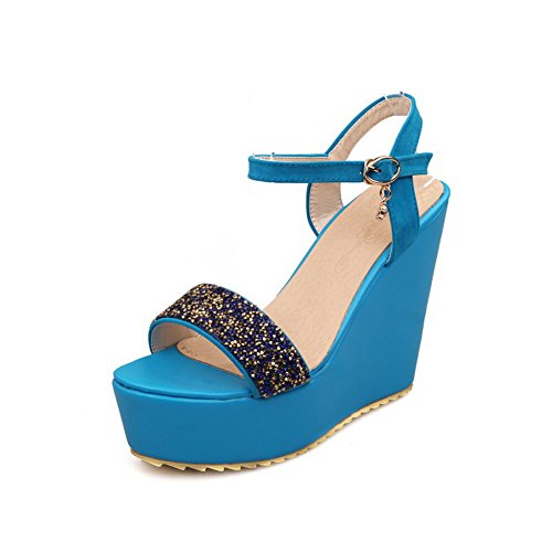 High Buckle AmoonyFashion Blue Womens Open Material Soft Sandals Toe Heels Solid qZ1ZIw4