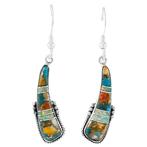 Spiny Turquoise Earrings 925 Sterling Silver & Genuine Turquoise ()