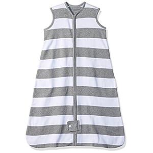 Burt's Bees Baby - Beekeeper Wearable Blanket, 100% Organic Cotton, Rugby Stripe Heather Grey (Medium)