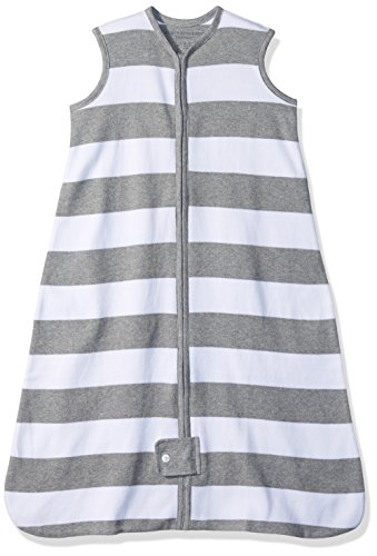 Burt's Bees Baby Beekeeper Wearable Blanket, 100% Organic Cotton, Rugby Stripe Heather Grey (Medium) by Burt's Bees Baby