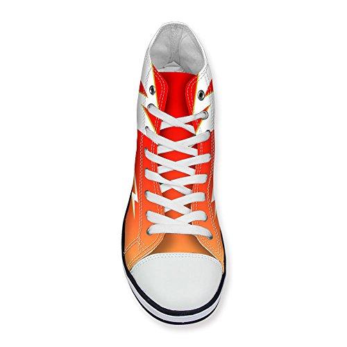 Para U Diseños Elegante Lightning Print Mujeres High Top Lace Up Fashion Sneaker Red 1