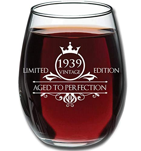 1939 80th Birthday Gifts For Women And Men Wine Glass Funny Vintage Anniversary Gift Ideas Mom Dad Husband Or Wife 15 Oz Glasses Red White