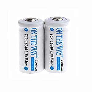 ON THE WAY®2x2000mAh TRC16340 3.7V Protected CR123A Rechargeable White Li-ion Battery for LED Flashlight Torch /Photo Camera /Laser Pointer Etc