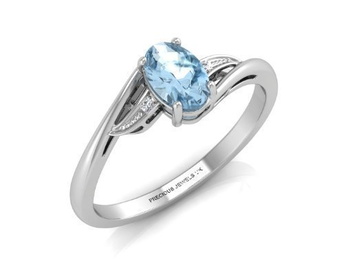 Anillo Compromiso Mujer Oro Blanco 9ct Diamante Topacio Azul Color G Clarity SI Certificado Independiente Diamante