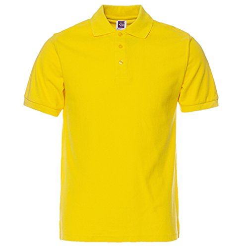 Men's Short-Sleeve Comfort Soft Classic Solid Golf Polo Shirt Yellow