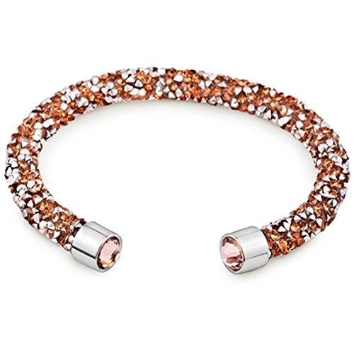 (Silver and Post Women's Rose Gold Cuff Bracelet Design with Crystals from Swarovski Bamboo Gift Box Included)