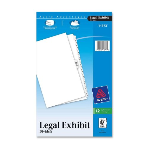 Avery Premium Collated Legal Exhibit Divider Set, Avery Style, 26-50 and Table of Contents, Side Tab, 14 x 8.5 inches, 1 Set (Avery Premium Collated Legal Dividers)