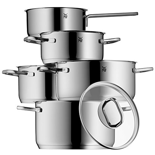 Price comparison product image WMF 1730156380 Intension and Pouring Spout Pot Set Glass Lid Cromargan Induction-Safe/Dishwasher Safe 5-Piece Cookware Set, Stainless Steel, Polished, Silver, 57,3 x 30 x 23 cm