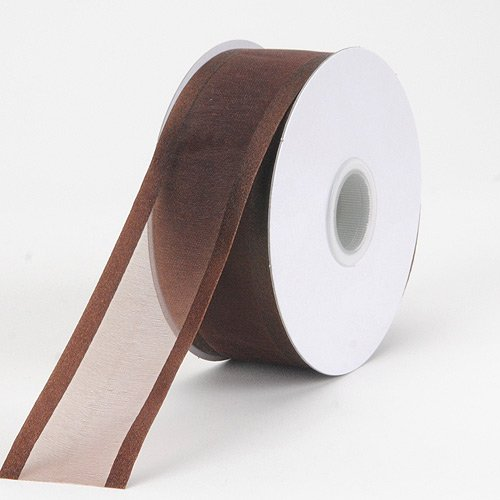 BBCrafts Chocolate Brown Organza Ribbon Two Striped Satin Edge 1-1/2 inch 25 Yards