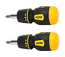 Stanley 66-358 Stubby Multi-Bit Ratcheting Screwdriver NIP (2 Pack)