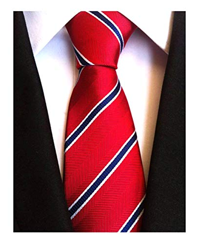 Patterned Red Tie (Elfeves Men's Modern Striped Patterned Formal Ties College Daily Woven Neckties (One Size, Red Blue))