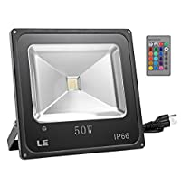 LE® 50W Waterproof RGB LED Flood Light, Color Changing LED Security Light, 16 Colors & 4 Modes, Remote Control Included, LED Floodlight, US Plug Spotlight, Wall Washer Light