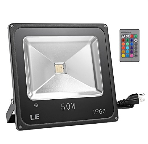 LE 50W RGB LED Flood Light,Dimmable, 16 Colors Change, 4 Modes with Remote Control, Waterproof IP66, LED Security Light, Wall Washer Light,US 3-Plug, for Indoor, Outdoor, Garden, Yard, Party
