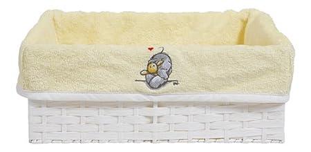 color amarillo y blanco Caja de almacenaje para ba/ño Bebe-jou 302448 Humphreys 32,5 x 22 cm