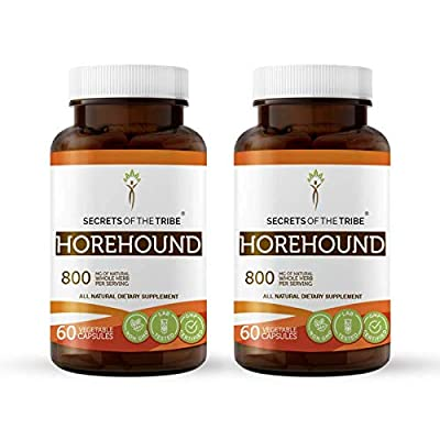 Horehound 60 Capsules(2 pcs.), 800 mg, Organic Horehound (Marrubium vulgare) Dried Herb (2x60 Capsules): Health & Personal Care