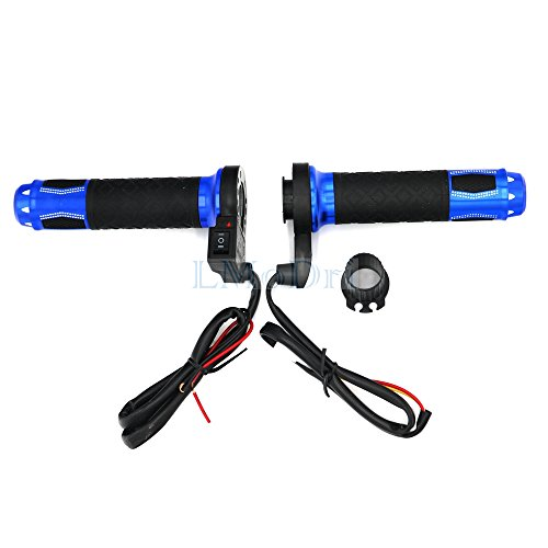 Blue Aluminum Handlebar (Motorcycle Electric Heated Grips Motorbike Hot Grip ATV Scooter 22mm 7/8