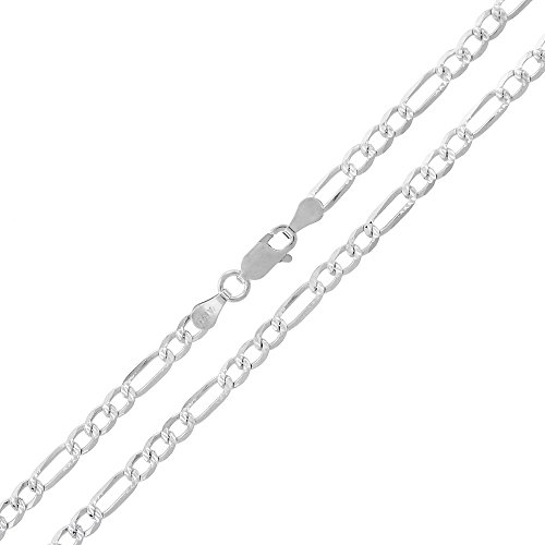 - Sterling Silver Italian 3.5mm Figaro Link Diamond-Cut ITProLux Solid 925 Necklace Chain 16