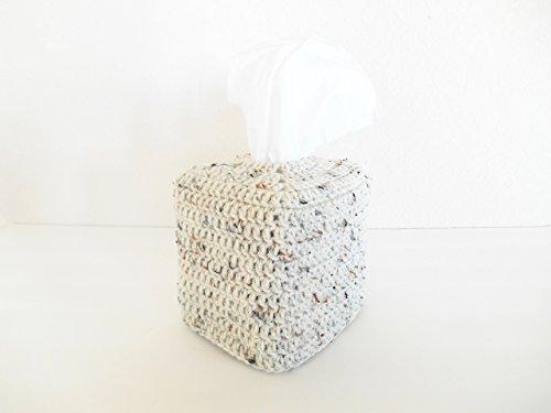 Crochet Tissue Box Cozy, Bathroom Tissue Box Cover Aran Fleck
