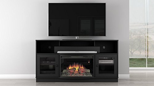 Furnitech 64″ Contemporary TV Console with 25″ Curved Electric Fireplace in a Matte Black Finish Review