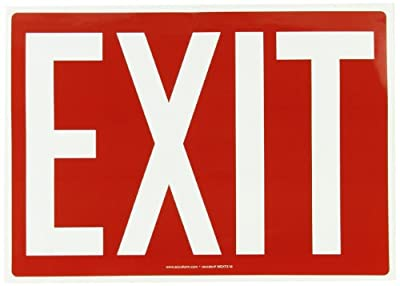 """Accuform Signs MEXT518VS Adhesive Vinyl Safety Sign, Legend """"EXIT"""", 10"""" Length x 14"""" Width x 0.004"""" Thickness, White on Red"""