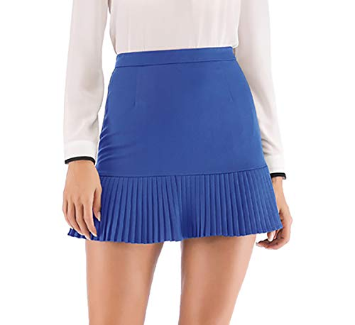 Hanlolo Women Ladies Skater Mini Skirts Cute Ruffle Hem Shorts Skirt Blue 10