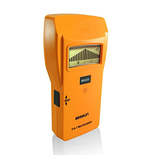 allsun Wall Stud Finder Electrical Detector Center Edge Finding Tool Wireless Wall Multi-scanner Stud Sensor 3 In 1 LCD Sound Warning AC Wire/Metal/Wood Detector ,Yellow,Auto power off.
