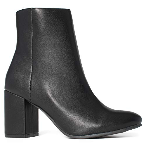 Women's Round Toe Chunky Heeled Side Zip Slim Fit Ankle Booties Black (6) Block Heel Ankle Boots