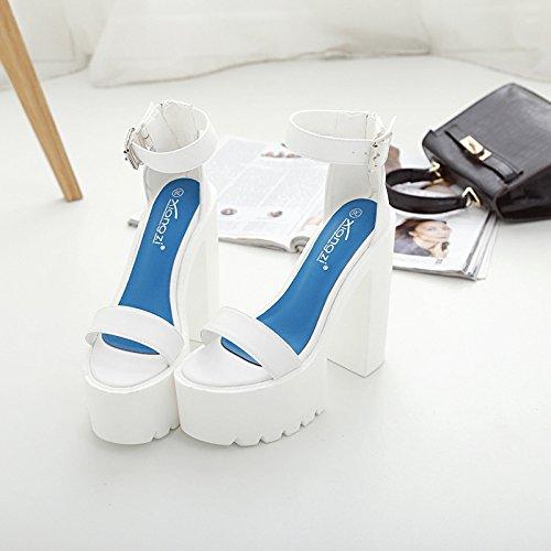 ZHZNVX Der neue Frühling und und und Sommer high-heel Schuhe wasserdicht Taiwan dick mit Frauen Schuhe binden Fisch Mund Sandalen mit Schlitz 5905bf