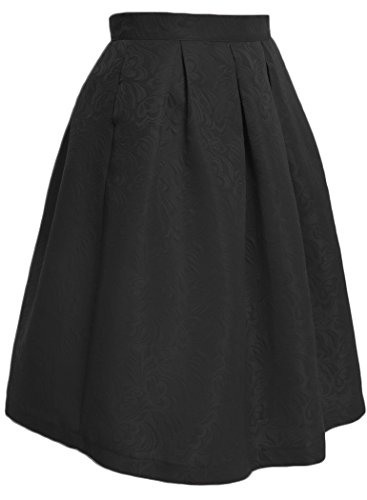 Halife Women's High Waisted Jacquard Floral Pleated A Line Skater Midi Skirt (S, (Floral Jacquard Skirt)