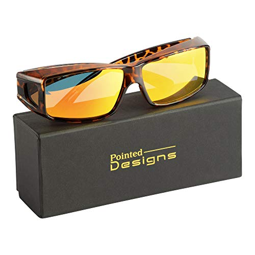Fit-Over Glasses Polarized Sunglasses w/Mirrored Lenses - Style 2 (Leopard, ()