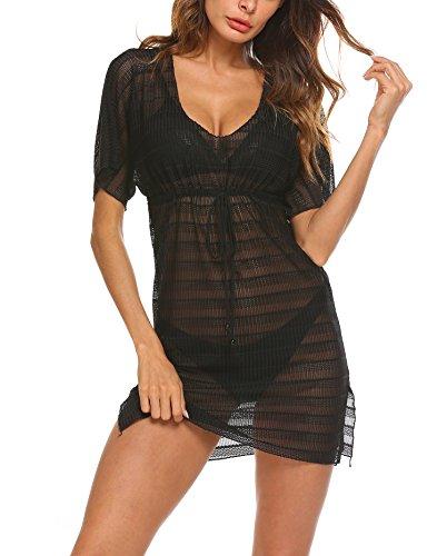 p Dress Bohemian Swimsuit Beach Dress Sexy Crochet Cover-up Dress (Medium, Black) ()