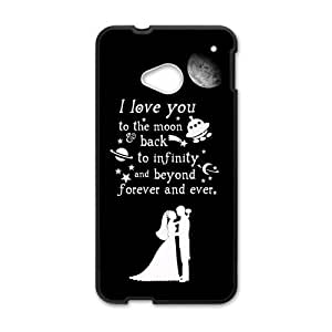 HTC One M7 Case,Love Quote I Love You To The Moon And Back Very Pretty Design Cover With Hign Quality Rubber Plastic Protection Case