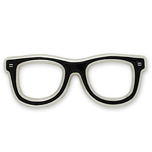 PinMart's Black Glasses Frames Eyeglasses Enamel Lapel Pin Lapel Womens Pins