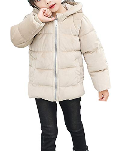 Hooded Cotton Velvet Lightweight Puffer Quilted Child Slim Jacket Outerwear Beige Winter fit Warm BESBOMIG Gold Down Thick Fabric Coats pgxaI5wp