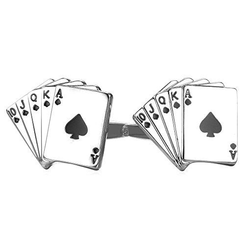 Cool Poker Cufflinks Men's Shirt Accessories Platinum Plated Cuff Links 1 Pair 2 Pcs Set Playing Cards Cufflinks Set