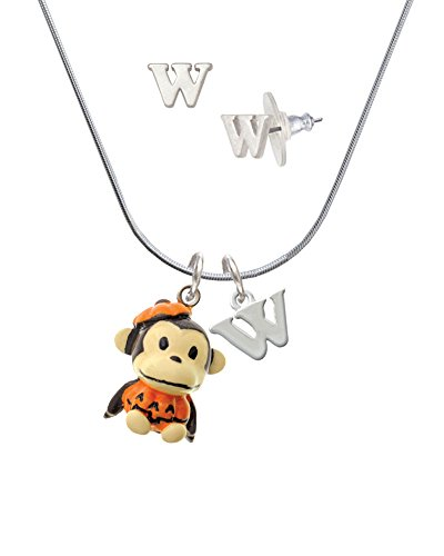 [Resin Monkey in Pumpkin Costume - W Initial Charm Necklace and Stud Earrings Jewelry Set] (Letter W Halloween Costumes)