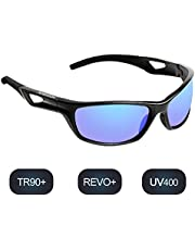 hodsgon Polarisierte Sportbrille Sonnenbrille Fahrradbrille mit UV400 Schutz für Damen und Herren Autofahren Laufen Radfahren Angeln Golf TR90 (Black/Blue)