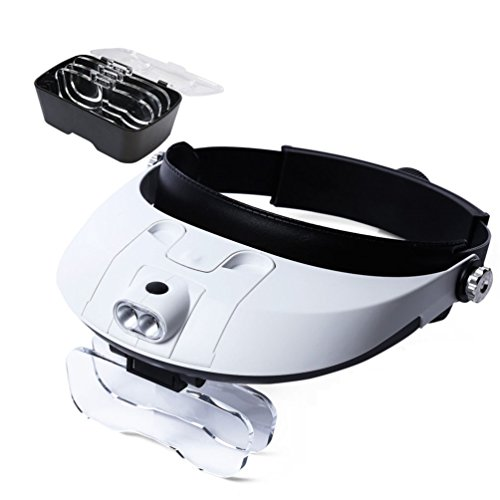 Glam Hobby Headband LED Illuminated Head Magnifier Visor - 1X to 3.5X Zoom with 5 Detachable Lenses - Hands Free Head Worn Lighted Magnifying Glasses for Reading,Jewelry Loupe,Watch,Electronic Repair